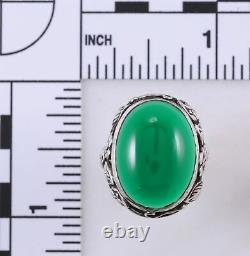 Antique Arts and Crafts Period Chrysoprase and Sterling Silver Ring