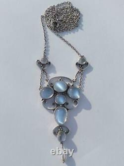 Antique Arts and Crafts Silver Moonstone Dropper Pendant Lavaliere Necklace 1910