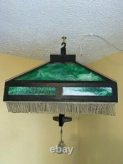 Antique Arts and Crafts Stained Slag Glass Hanging Fixture