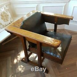 Antique Arts and Crafts metamorphic Oak'The AdjusTable chair' table/chair