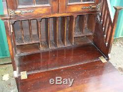 Antique Arts and Crafts oak bureau bookcase, with Reg. No, good original order