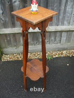 Antique Arts and Crafts oak lamp stand