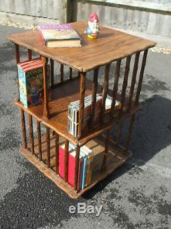 Antique Arts and Crafts oak revolving bookcase, interesting and unusual desigh