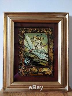 Antique Arts and crafts reverse painted glass picture fairies elfs