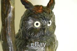 Antique Austrian Bronze Art Nouveau Deco Owl Glass Jeweled Arts And Crafts Lamp