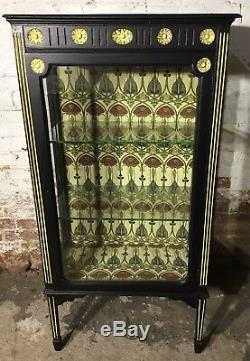 Antique, Black Painted Display Cabinet, Glass Shelves, Arts And Crafts Style
