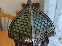 Antique Bradley Hubbard Lamp With Murano Slag Glass Shade Arts and Crafts