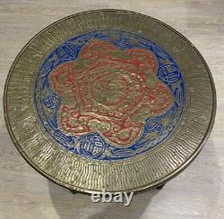 Antique Brass Table 1910s Arts and Crafts Folding Wine Coffee Enamelled Chinese