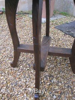 Antique Carved Oak Arts and Crafts Japanese Table from Liberty's of London