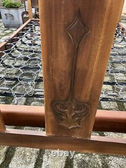 Antique Double Wooden Bed Frame Arts And Crafts Spring Base Carved Lotus Flower