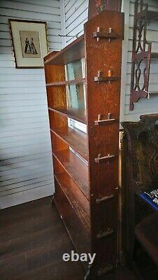 Antique Edwardian Arts And Crafts Open Shelving, oak Bookcase, Pegged Sides