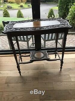 Antique Edwardian Oak Wash Stand Occasional Hall Table Arts And Crafts