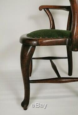 Antique Edwardian Vintage Arts And Crafts Oak Captains Chair Desk Armchair