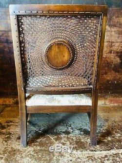 Antique English Oak Arts And Crafts Cane Back Arm Chair