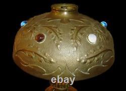 Antique Fabulous Jugendstil Art Nouveau Arts and Crafts Brass Jeweled Table Lamp