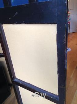 Antique French Arts And Crafts Beaten Leather And Mirror Folding Screen