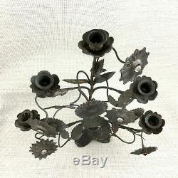 Antique French Candelabra Candlestick Arts and Crafts Elaborate Sunflowers