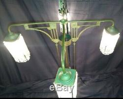 Antique Glass Chandelier Large Brass Arts and Crafts Lighting Art Deco 1920s