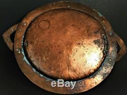 Antique Hammered Copper Chafing Dish Ring, Lid, and Tray Arts & Craft Era 1900