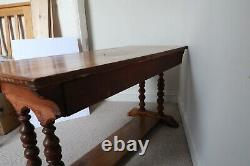 Antique Inlaid Arts And Crafts Pine Two-drawer Desk Or Table, Lovely Colour