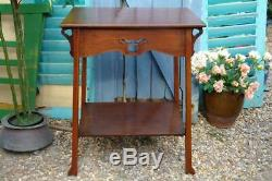 Antique LIBERTY & Co Arts And Crafts Mahogany Center Table c. 1900 Heart Motifs