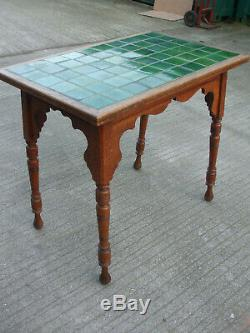 Antique Liberty Arts and Crafts oak tiled top table, ideal conservatory piece