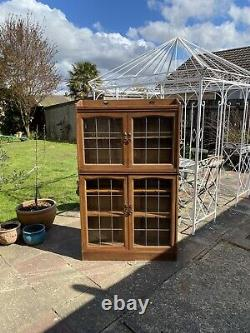 Antique Liberty Style Arts and Crafts Blonde Mahogany Bookcase