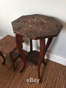 Antique Liberty of London Arts and Crafts Side Lamp Carved Sunflower Table