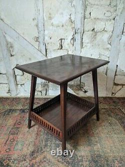 Antique Mahogany Arts and Crafts Side/Occasional Table, Fret Work