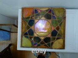 Antique Mosaic art glass panel large 15 x 15 wall tile Arts & Crafts Gold