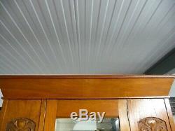 Antique Oak Art Deco Arts and Crafts Single Wardrobe Hall Cupboard With Mirror