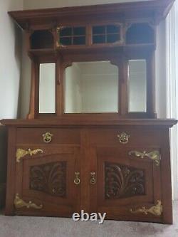 Antique Oak Arts And Crafts Mirror Back Sideboard Dresser