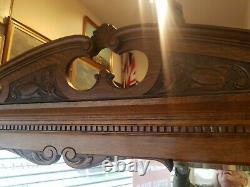 Antique Oak Arts And Crafts Mirror Back Sideboard, Dresser