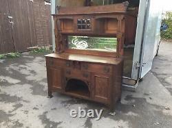 Antique Oak Arts And Crafts Mirror Back Sideboard, Dresser Base Rustic Furnitur