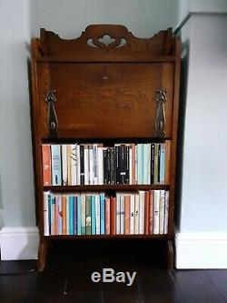 Antique Oak Arts & Crafts Bookcase Writing Bureau With Fretwork And Metal Detail
