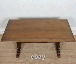 Antique Oak Dining Table And 4 Chairs Leather Refectory Country Arts Crafts