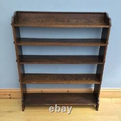 Antique Oak Pegged Library Bookcase Old Open Edwardian Arts And Crafts Style