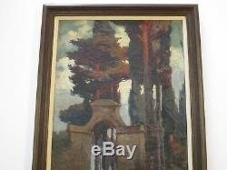 Antique Painting Art Deco Arts And Crafts Landscape Architectural Blooming Old