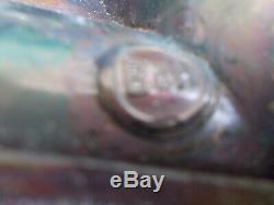 Antique Pair Bradley & Hubbard Copper And Slag Glass Arts & Crafts Sconces C1915