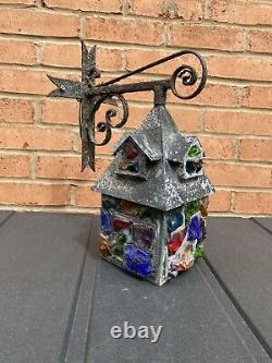 Antique Peter Marsh Lantern Multi colored Glass Arts and Crafts Lantern
