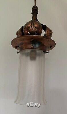 Antique Rare Arts and Crafts Art Nouveau Copper Hearts Lantern Ceiling Light