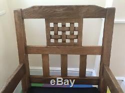 Antique Robert Thompson Mouseman Arts And Crafts Liberty Oak Rocking Chair