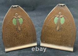 Antique Roycroft Copper Bookends 5 High Original Finish Arts and Crafts