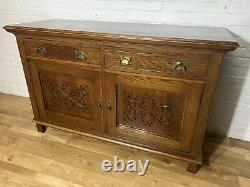 Antique Solid Oak Arts And Crafts Sideboard. Delivery Available Most Areas