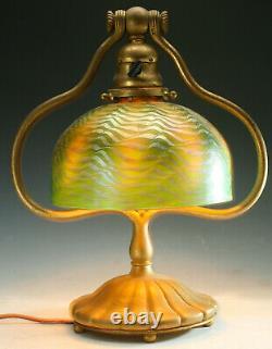 Antique Tiffany Desk Lamp Lct Favrile Shade Damascene Arts And Crafts Stickley E