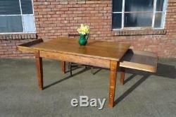 Antique Victorian Arts And Crafts Golden Oak Dining Table OLD LABORATORY TABLE