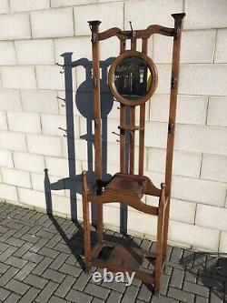 Antique Victorian Arts And Crafts Oak Mirrored Coat Hall Hat Umbrella Stand