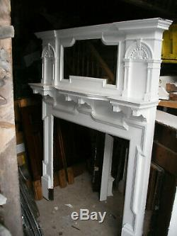 Antique Victorian arts and crafts solid oak fireplace surround