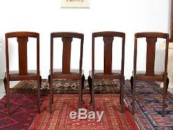 Antique Vintage Oak Dining Table And 4 Chairs Arts & Crafts Folding Extending