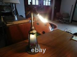 Antique Vintage Reverse-painted Chipped Ice Glass Lamp Base Arts And Crafts